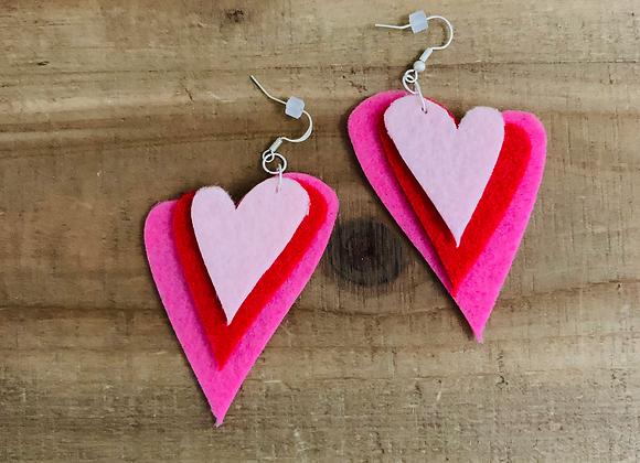 Heart Earrings (Felt)