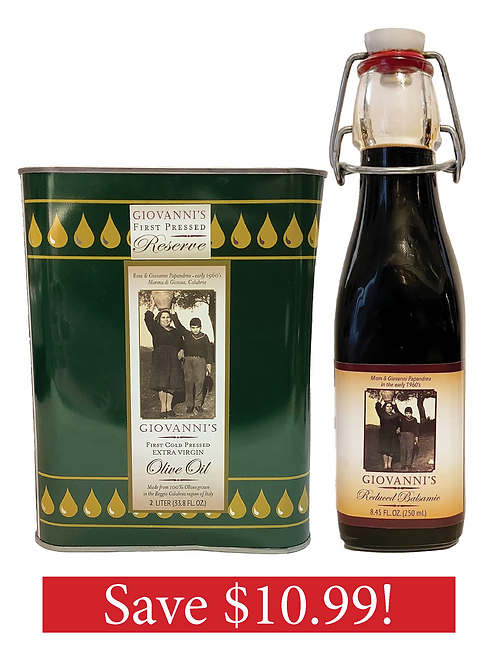 2 Ltr tin Olive Oil with 8.45 oz. Balsamic