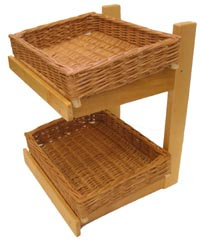 DWD-WW2C - 2 Tier Wooden & Wicker Counter Top Display Stand