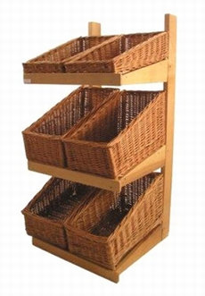 DWD-WW3F   3 Tier Wooden & Wicker Display Stand