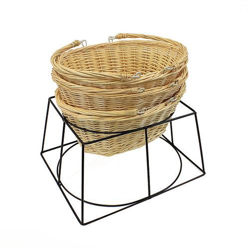DWD-WWSB - Wicker Retail Shopping Baskets & Metal Holder