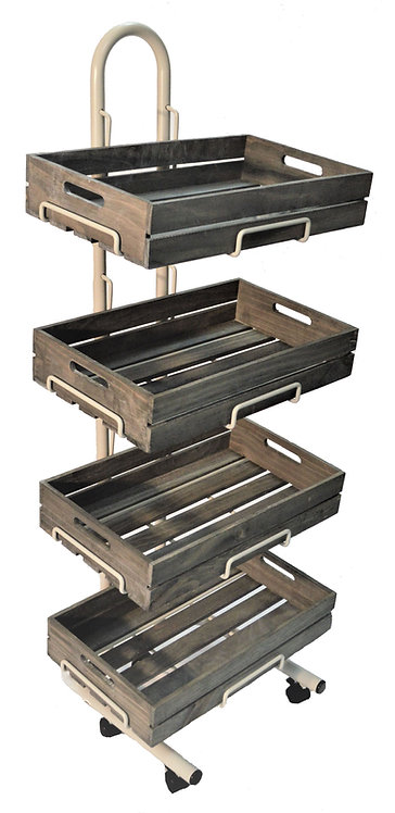 W4F-WC 4 Tier Wooden Crate Display Stand