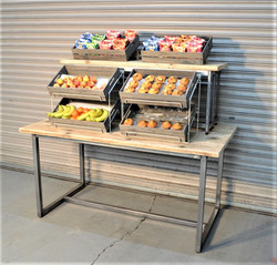 Display Table with Wooden Crates - 1