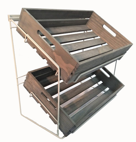 DWD-W2LC-WC 2 Tier Counter Top Display with Wooden Display Crates