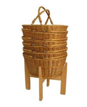 DWD-WWSB - Wicker Retail Shopping Baskets & Wooden Holder