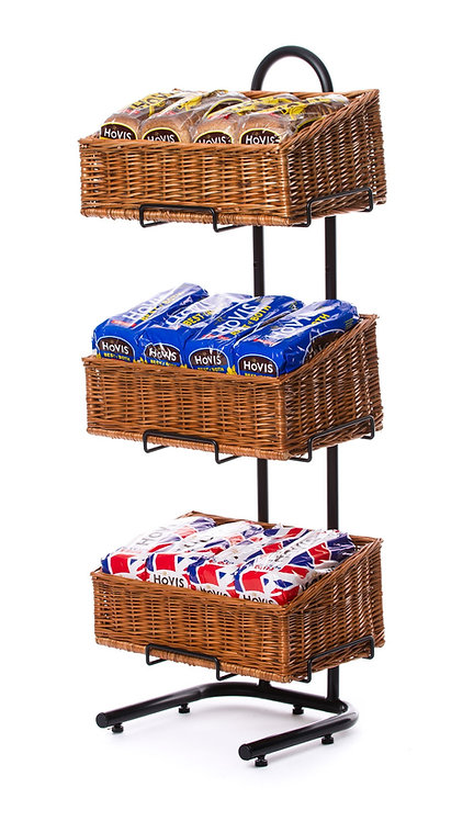 DWD-W3F-REC  3 Tier Wicker Basket Display Stand