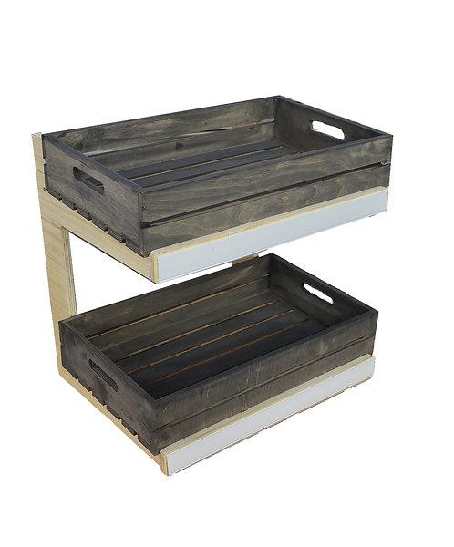 DWD-W2C-LG 2 Tier Counter Top Display with Vintage Grey Display Crates