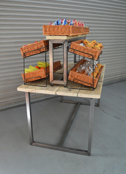 Display Table with Wicker Baskets - 3