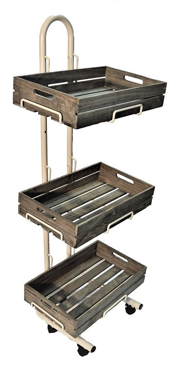 W3F-WC 3 Tier Wooden Crate Display Stand