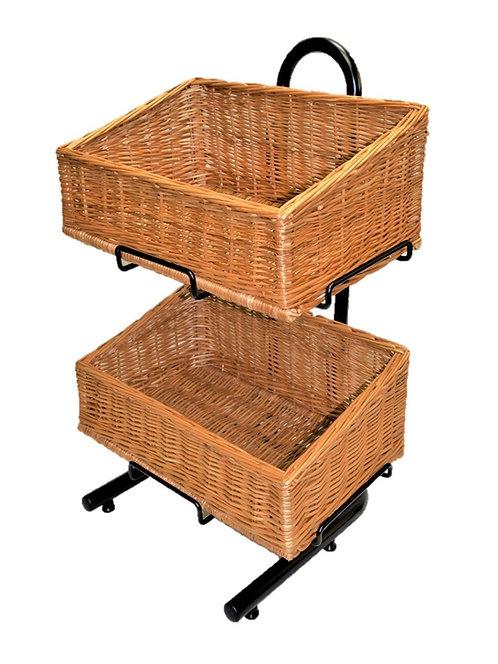DWD-W2F-REC- 2 Tier Wicker Basket Display Stand