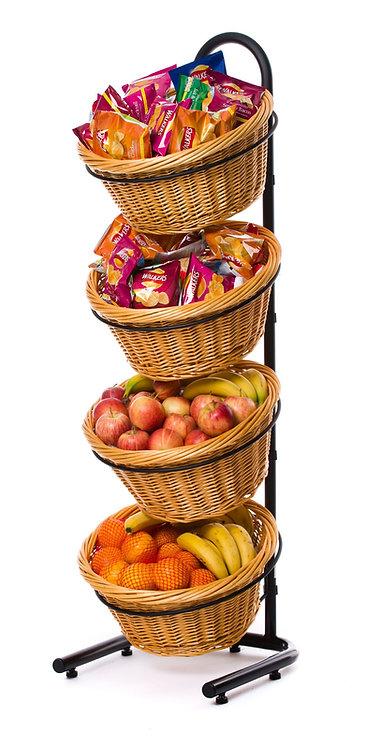 DWD-W4F 4 Tier Wicker Basket Display Stand