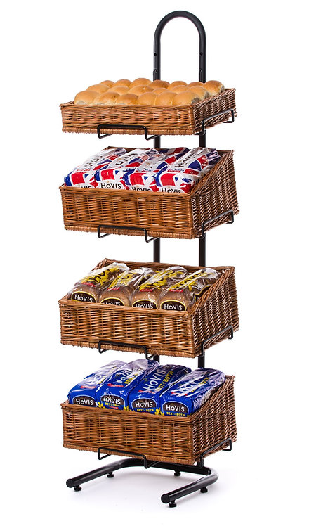 DWD-W4F-REC-S  4 Tier Retail Display Stand with Wicker Baskets