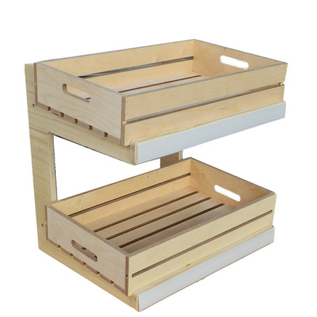 New 2 Shelf Counter Top Stands with Vintage Grey or Natural Ply Crates