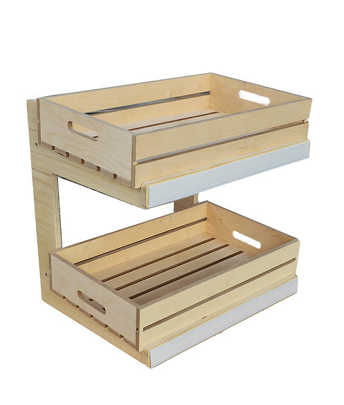 DWD-W2C-LN 2 Tier Counter Top Display with Natural Ply Display Crates