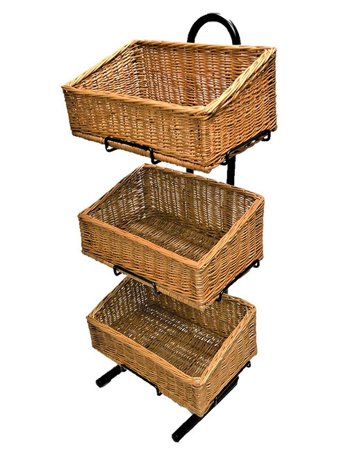 DWD-W3F-REC-L  3 Tier Wicker Basket Display Stand