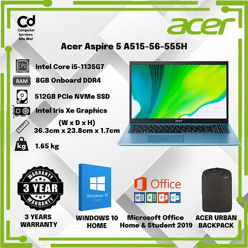 Acer Aspire 5 A515-56-555H Laptop Glacier Blue