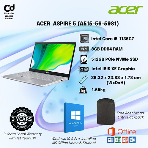 Acer Aspire 5 A515-56-59S1 Laptop Pure Silver
