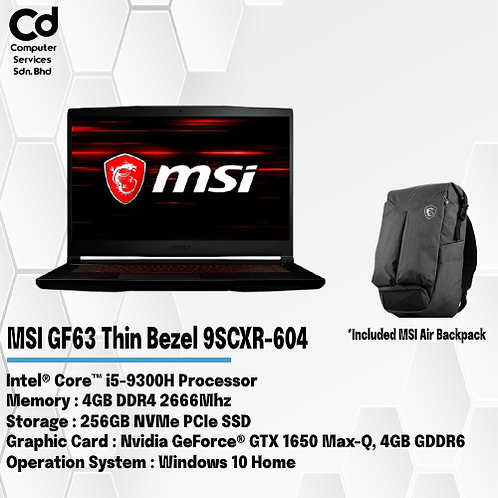MSI GF63 Thin Bezel 9SCXR-604 Gaming Laptop