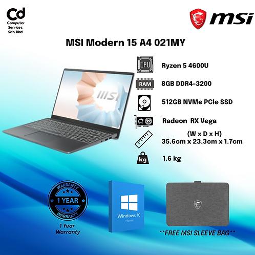 MSI Modern 15 A4M-021MY Laptop Grey
