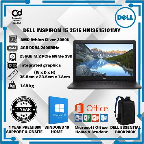 DELL INSPIRON 15 3515 HNI3515101MY (AMD ATHLON SILVER 3050U/4GB/256GB SSD/AMD RA