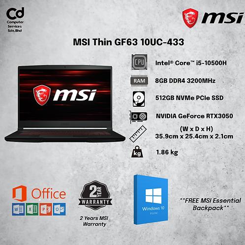 "MSI Thin GF63 10UC-433 15.6"" FHD Gaming Laptop"