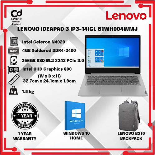 LENOVO IDEAPAD 3 IP3-14IGL 81WH004WMJ LAPTOP -GREY (CELERON 4020/4GB/256GB SSD/1