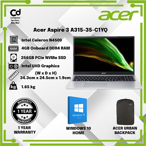 Acer Aspire 3 A315-35-C1YQ 14'' Laptop Pure Silver