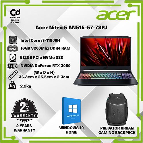 Acer Nitro 5 AN515-57-78PJ ( i7-11800H / 16GB / 512GB / RTX3060 / W10 / 2Y)