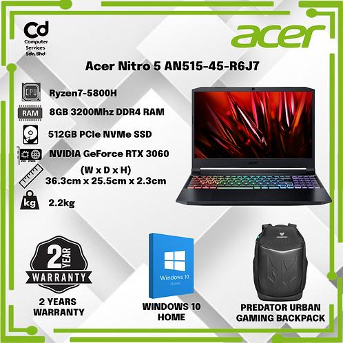 "ACER NITRO 5 AN515-45-R6J7 GAMING LAPTOP (RYZEN 7 5800H,8GB,512GB SSD,15.6"" FHD,"