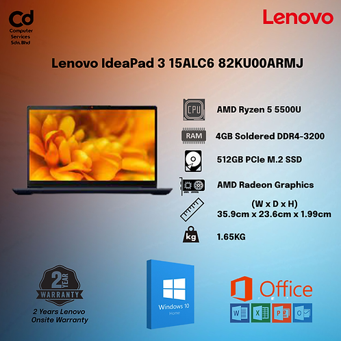 Lenovo IdeaPad 3 15ALC6 82KU00ARMJ 15.6'' FHD Laptop Abyss Blue ( Ryzen 5 5500U)