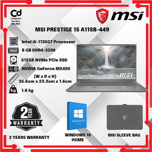 MSI PRESTIGE 15 A11SB-449 LAPTOP