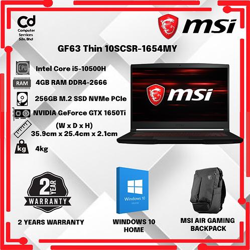 MSI GF63 Thin 10SCSR-1654MY Black Gaming Laptop