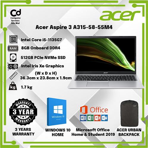 ACER ASPIRE 3 A315-58-55M4 PURE SILVER