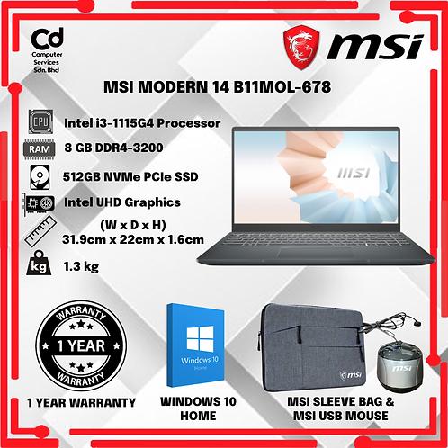 MSI MODERN 14 B11MOL-678 CREATION LAPTOP -CARBON GREY