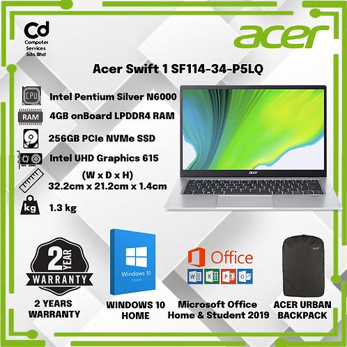 Acer Swift 1 SF114-34-P5LQ 14'' FHD Laptop Iridescent Silver