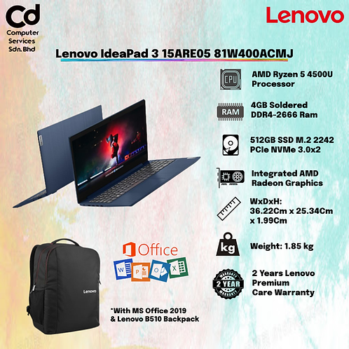 LENOVO IDEAPAD 3 15ARE05 81W400ACMJ