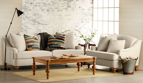 Dressed Up But Casual The Transitional Details And Neutral Poly Linen Fabric Of Joanna S Adore Sofa Make It A Go Anywhere Style