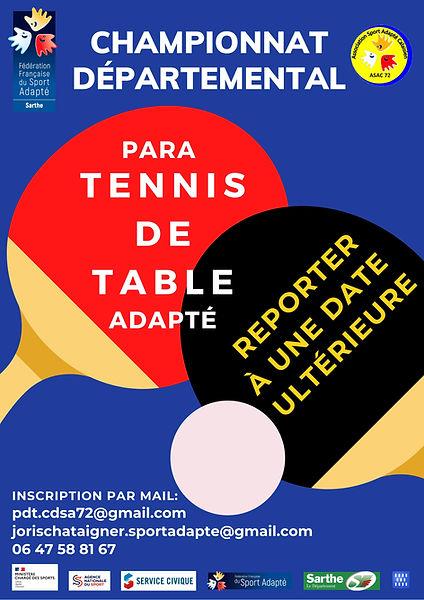 CHAMPIONNAT DÉPARTEMENTAL TENNIS DE TABL