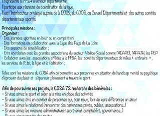 Le CDSA 72 en quête de bénévoles !