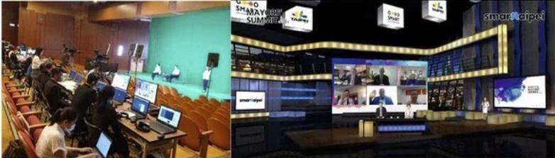 2020智慧城市首長高峰會(左)虛擬攝影棚現場與(右)呈現直播畫面的全景照。(source:台北市政府;2020/08)
