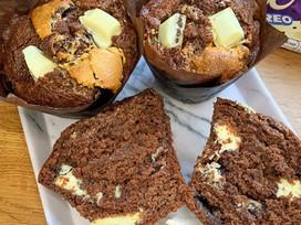 Jumbo white choc Oreo muffins!