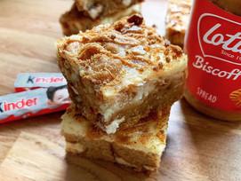 Biscoff & Kinder cheesecake cookie bars!