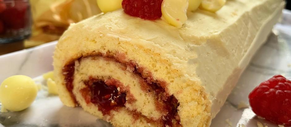 Milkybar & Raspberry Swiss roll