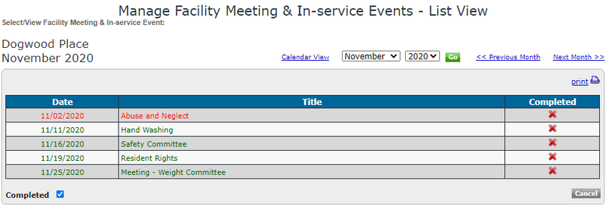 List View of In-Services Events