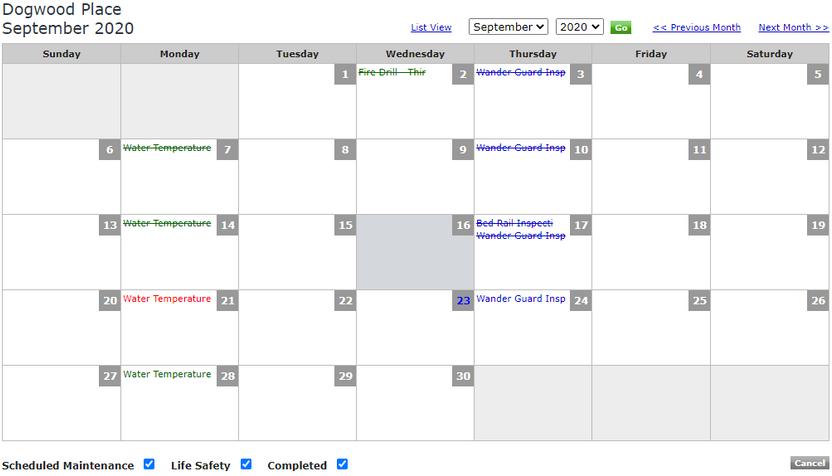 Life Safety Calendar