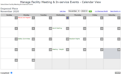 Calendar View of In-Services Events