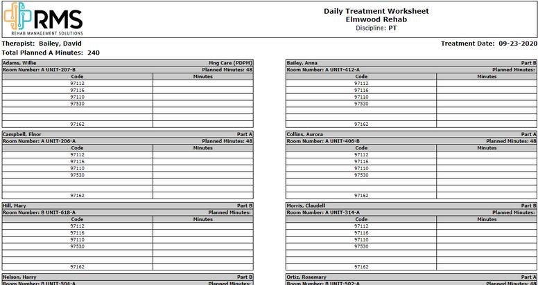Therapist Dailly Schedule