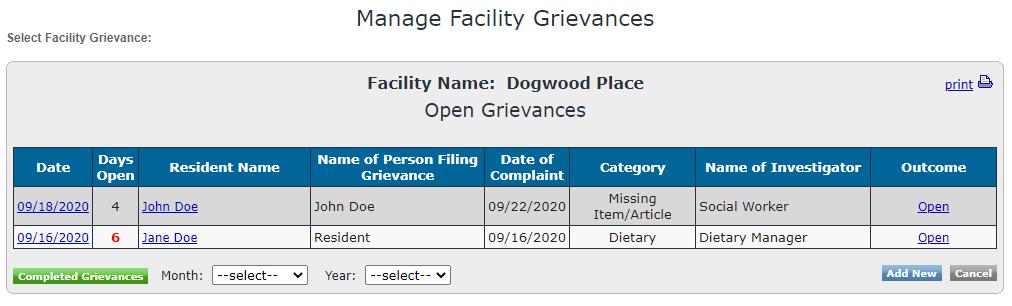 Facility Grievances