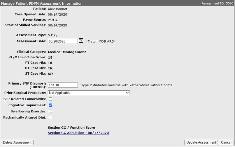 Patient PDPM Assessment