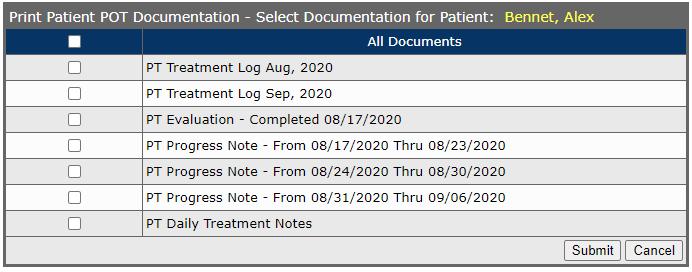 Patient Plan of Treatment